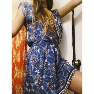 Anthropologie blue Tunic summer floral mini dress